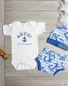 3e9140278b7b Nautical Coming Home Outfit for Summer Personalized. Toddler OutfitsBaby Boy  ...