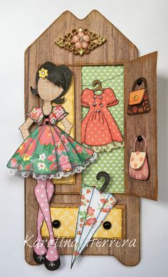 Julie Nutting, Julie Nutting doll, paper doll, Prima Dolls, mixed media doll, stamp, paper crafting, fussy cutting, flower, wardrobe, doll wardrobe, dress, doll dress, umbrella, closet