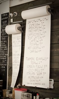 Menu at Prado Cafe in Vancouver. Butcher paper, good idea for any sort of announcement board