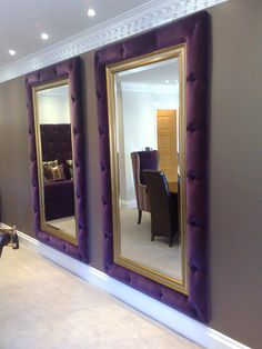 using our design in the harlequin tufted in the choc espresso weave pattern Purple Mirror, Giant Mirror, Diy Mirror, Dining Room Table Decor, Tv Wall Decor, Interior Decorating Styles, Dream Rooms, Interior Design Inspiration, Head Boards