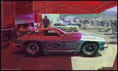 A Chevrolet Corvette Stingray before a raceday at Laguna Seca.