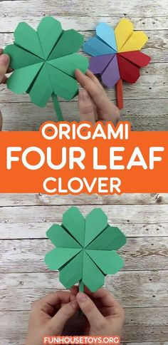 St Patrick's Day is coming up and we create this lucky charm which is super easy to craft with our printable. We included a larger version for younger children. Just print onto green color paper and start! Crafts For Kids To Make, Fun Crafts, Paper Crafts, Fun Printables For Kids, Origami Heart, Four Leaves, Toddler Art, Four Leaf Clover, Lucky Charm
