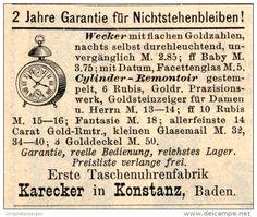 Original-Werbung/Inserat/ Anzeige 1891 - WECKER/TASCHENUHRENFABRIK KARECKER KONSTANZ - ca. 50 x 45 mm