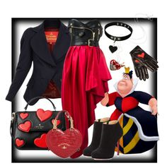 """""""Queen of Hearts inspired"""" by velvy on Polyvore featuring Vivienne Westwood, Moschino, Disney, Boutique Moschino, Kate Spade and Christian Louboutin"""