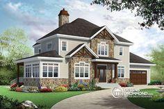w3816 v1 plan maison craftsman poutres bois rustique 4 chambres 4 s bain solarium foyer - Bon Plan Construction Maison