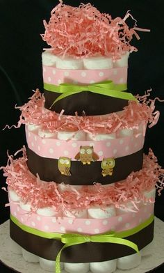 Baby Owl Diaper Cake Girl by ItsMeantToBe on Etsy