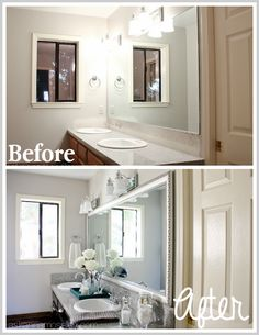 Bathroom mirror makeover before and after - Ask Anna