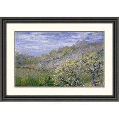 "Global Gallery 'Trees in Bloom (Arbres en fleurs)' by Claude Monet Framed Painting Print Size: 23.55"" H x 32"" W x 1.5"" D"