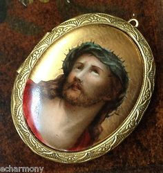 Vintage Art Nouveau Painted Porcelain Locket Jesus Christ Ecce Homo Crown Thorns | eBay