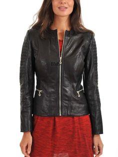 Women Stylish slim fit front zip Lambskin Bomber Biker leather jacket WJ327 #Handmade #BasicJacket