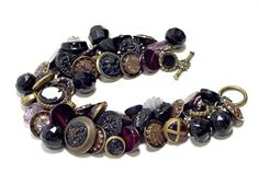 Button Bracelet Victorian Charmstrings, Waistcoats, MOP, Pressed Purple Amethyst And Black Glass