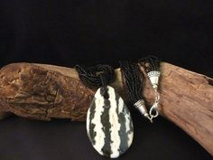 Zebra Stone Pendant with Black Seed Beads by carolesart on Etsy, $150.00