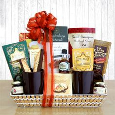 Breakfast in Bed Gift Basket- I like the mugs in this. We could get some Glenwood Inn mugs.