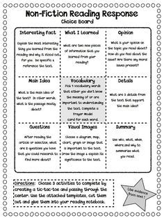 Non-Fiction Reading Response Choice Boards.good for reading response notebooks Reading Workshop, Reading Skills, Teaching Reading, Reading Response Activities, Reading Comprehension Strategies, Nonfiction Activities, Reading Bingo, Reading Tips, Close Reading