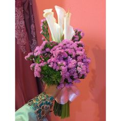 ; calla lily with pink statice for nazratul ain's solemnization