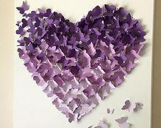 Mariposa 3D pared arte púrpura Ombre letra del alfabeto