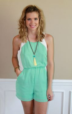 Summer Romper, mint, cute, outfit, ootd, lotd, outfit idea, inspiration, fashion, boutique