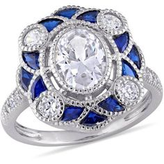 Tangelo 6-1/4 Carat T.G.W. Created Blue Spinel and Cubic Zirconia Sterling Silver Art Deco Halo Ring, Size: 5.5
