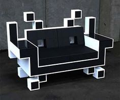 Space Invaders Couch - all leather with memory foam inside!