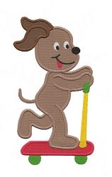Scooter Dog Applique - 3 Sizes! | Tags | Machine Embroidery Designs | SWAKembroidery.com Applique for Kids