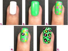 22 Fabulous Summer Nail Art Ideas ... Neon Leopard