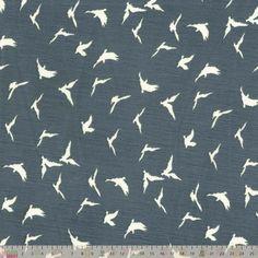 Crinkle Georgette - Birds On Black
