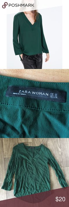 Zara Wome Green Soft Shirt This shirt is in great condition! Size XS. Smoke and pet free home. No trades. Reasonable offers accepted! Zara Tops Tees - Long Sleeve