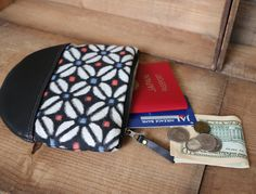 """This beautiful Large size Kimono × Leather Wallet is made of my favorite Flower Pattern Vintage Japanese """" Meisen """" Kimono fabric ( 100% Silk ) and Smooth High Quality Italian black Cow leather."""