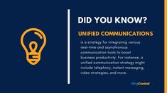 What is unified communications? Unified communications is a strategy for integrating various real-time and asynchronous communication tools to boost business productivity. Public Network, Unified Communications, Cloud Infrastructure, Instant Messaging, Communication System, Cloud Based, Cloud Computing, Customer Experience, Productivity