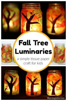 Mason jar fall tree luminaries craft for kids (and adults)! An easy tissue paper craft that toddlers and preschoolers will love! Such a simple fall craft that will be a treasured family keepsake for your autumn or Thanksgiving table! Cheap Fall Crafts For Kids, Fall Crafts For Adults, Easy Fall Crafts, Autumn Activities For Kids, Paper Crafts For Kids, Preschool Crafts, Thanksgiving Activities, Simple Crafts, Fall Diy