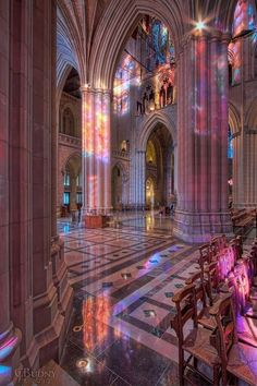 """Across the Nave"" : Washington National Cathedral; a view northwest across the width of the nave with late-fall morning light streaming in through the 3 levels of south-side stained glass windows. Aesthetic Pastel Wallpaper, Aesthetic Backgrounds, Aesthetic Wallpapers, Retro Wallpaper, Aesthetic Collage, Aesthetic Photo, Aesthetic Pictures, White Aesthetic, Aesthetic Rooms"