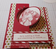 Stamps Well With Others: Circle Card Thinlits Die - Santa's List Card Tutorial Flip Cards, Fancy Fold Cards, Folded Cards, Stamped Christmas Cards, Xmas Cards, Holiday Cards, Greeting Cards, Scrapbook Cards, Scrapbooking
