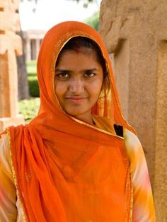 Woman in Sari Dress at Qutub Minar Complex, New Delhi, India Photographic Print