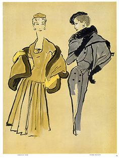 Bernard Blossac 1954 P1 Christian Dior, Pierre Balmain, Fashion Illustration