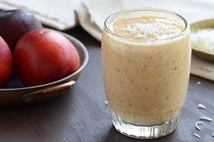 Fast + Delicious Coconut Smoothie - With fresh nectarine, frozen pineapple, frozen banana, vanilla, + 3 kinds of coconut.