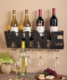 Premium Black Wall Mount Metal Wine Rack With Wine Word By Besti Hanging Bottle Corks Wine Glasses Holder Storage Decorative Display Sturdy Construction Home Dcor For Living Room Or Kitchen ** Read more at the image link. (This is an affiliate link) Wine Bottle Rack, Wine Rack Wall, Bottle Holders, Glass Holders, Wine Bottles, Cork Holder, Bottle Wall, Wine Wall, Wine Glass