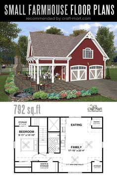 Modern Farmhouse with a Double Garage. Designing and building a farmhouse can be a lot of fun! Look at the best small farmhouse plans that can fit almost any tight budget. Learn how you can design the best modern farmhouse and decorate it as a pro! The Plan, How To Plan, Small Farmhouse Plans, Guest Cottage Plans, Guest House Plans, Farmhouse Stairs, Plan Garage, Garage Ideas, Two Car Garage