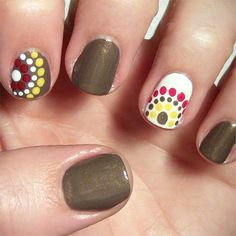 Fall-Colored Polka Dot Nail Art