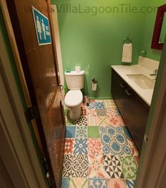 Patchwork Tile Floors-Encaustic Cement Tile Bathroom floor