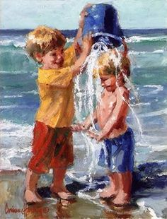 The beauty of life and the joy of living is what Corinne Hartley tries to express in her sculptures and on her canvases. Painting People, Painting For Kids, Painting & Drawing, Art Plage, Painting Teacher, Inspiration Art, Beach Art, Watercolor Paintings, Art Projects