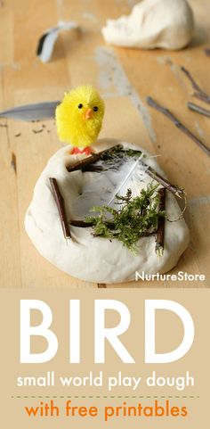 bird small world, bird theme play dough, printable bird puppets