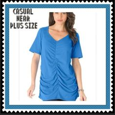 """Plus Size 1X Shirred Runaway Top This plus size tee from the runway tee collection has the most flattering details. shaped silhouette that fits to your curves shirred at front side seams sweetheart neckline frames your face short sleeves keep you cool center front seaming detail about 28"""" cotton/rayon/spandex, machine wash, CORNFLOWER BLUE Denium 24/7 Tops Tees - Short Sleeve"""