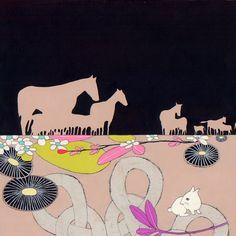 Horses  original fine art framed painting by jenniferdavis on Etsy