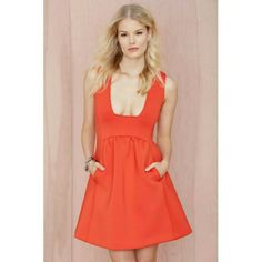 Nasty gal square up dress. We made this dress fair and square. It's a bright orange scuba beauty with a square neckline, pockets at front, thick shoulder straps, and seamed detailing. Partially lined, stretch fabric. This dress has some serious structure, so pair it with flirty heels or a slouchy leather clutch. By Nasty Gal. Polyester/Spandex Runs true to size. Hand wash cold/gentle machine wash. Nasty Gal Dresses