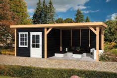 Doe het zelf Lariks Douglas Overkapping Rotterdam Zwart Backyard Studio, Backyard Retreat, Backyard Patio, Backyard Landscaping, Outdoor Gazebos, Outdoor Sheds, Outdoor Rooms, Outdoor Living, Shed Design