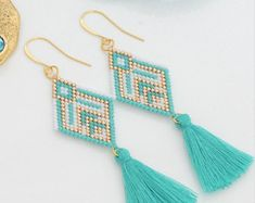 Brick Stitch Earrings with Tassel charm-silver,turquoise, gold, and white miyuki delica seed beads,22k gold filled earwire