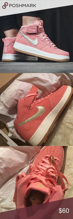 Air Force '07 Mid seasonal Nike air force 1 '07. Bubble gum pink with a gold swoosh. Brand new in the box. Available in woman's 6,7,7.5,8,8.5,9,10. Please size up if unsure. No trades! Nike Shoes