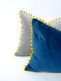 Teal blue pillow // pom pom cushion // teal blue velvet cushion // yellow pom pom pillow - Home Page