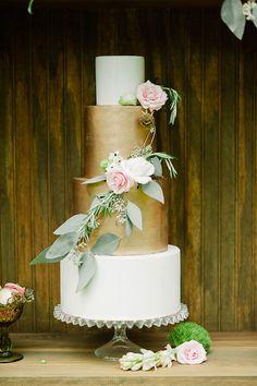 Gorgeous metallic wedding cake created by Earth and Sugar, an organic bakery in Palm Beach, Florida