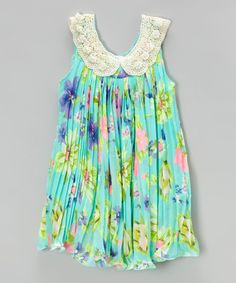 Take a look at the Aqua Floral Pleated Swing Dress - Infant, Toddler & Girls on #zulily today!